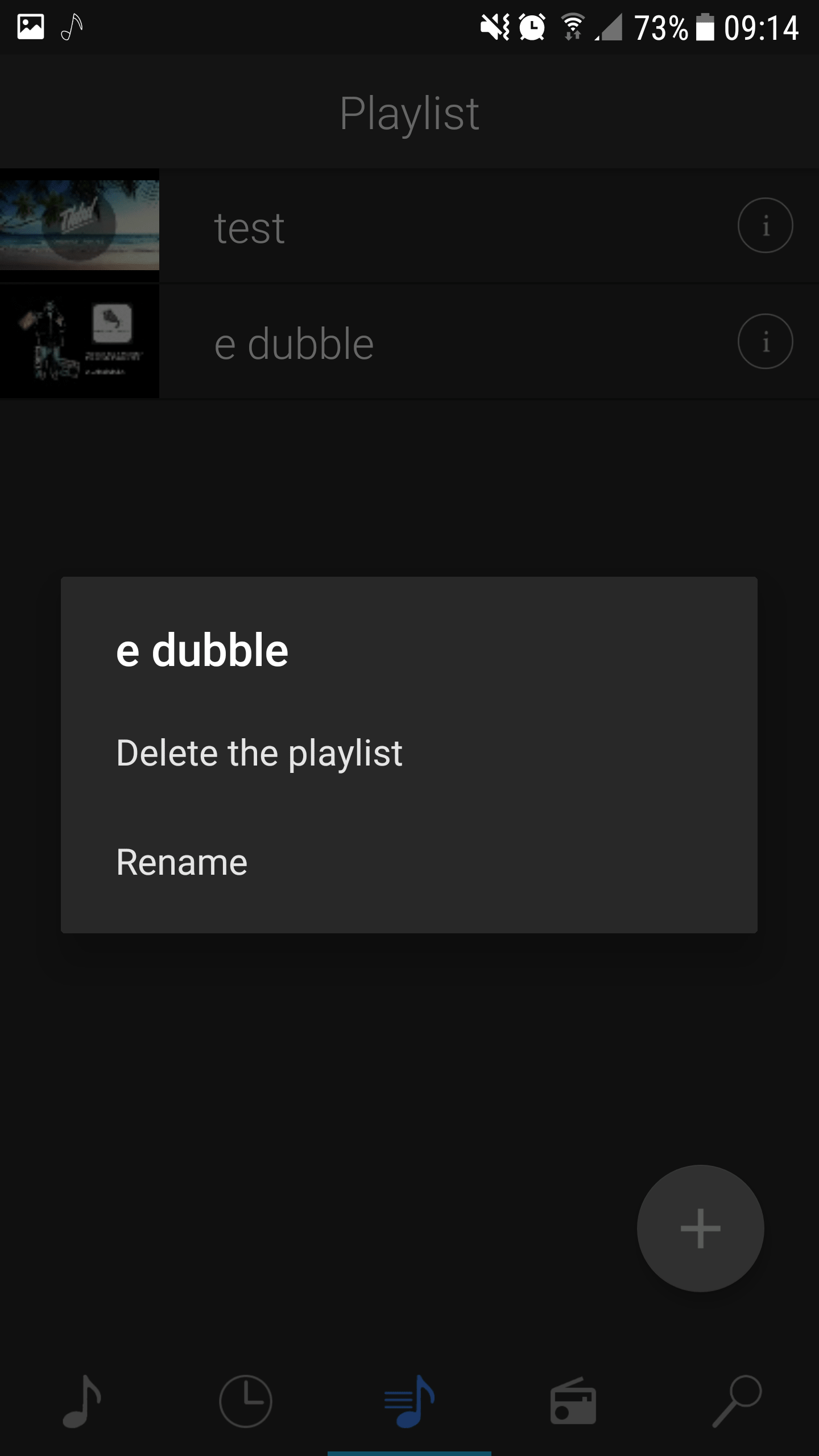 Playlist fragment of YouPlay for Android