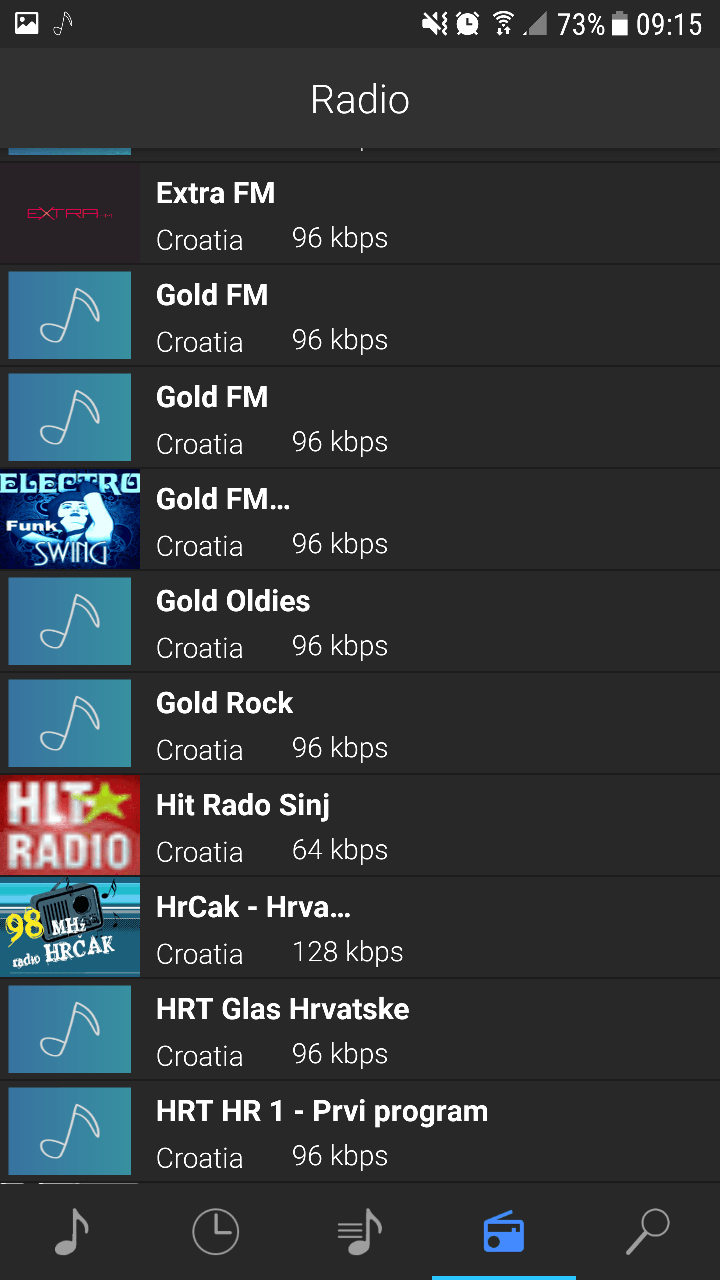 Radio fragment of YouPlay for Android